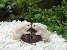 Miniature Dollhouse FAIRY GARDEN ~ Rabbit Bunny Rabbits Kissing on Walnut ~ NEW