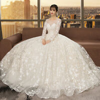 Appliques Arabic Wedding Dresses Ball Gown Long Sleeve Plus Size Bridal Gown