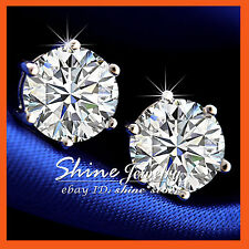 18K WHITE GOLD FILLED MENS WOMENS 3CT BIG STUD EARRINGS SOLID SIMULATED DIAMOND