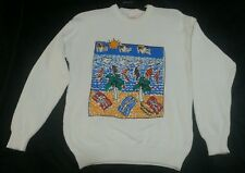 VIVA LA WOMBAT KNIT COTTON JUMPER VINTAGE SIZ 14 used RETRO 80'S AUSTRALIAN MADE
