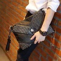 Men Faux Leather Rivets Bag Black Skull Handbag Clutch