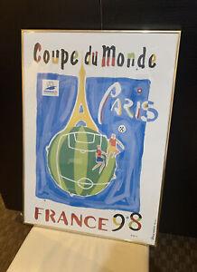World Cup 1998 France Original Soccer Poster Print Framed