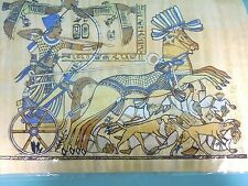 Egyptian Authentic Papyrus from Giza- Solder with war horse & Dogs / Casualties
