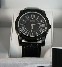 HUGO BOSS 1512715 Men's Black Case and Dial Black Leather Strap Watch NEW