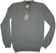 $980 NEW GUCCI CASHMERE WOOL HEATHER GRAY SLIM FIT V NECK SWEATER M/L