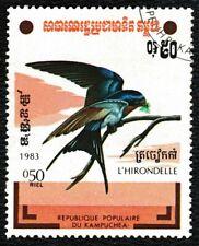 1983 Cambodia 0.50 riel Wild Birds of Cambodia 'Swallow' Bird Stamp