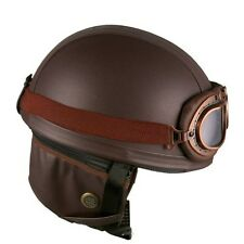 leather brown motorcycle goggles vintage garman style half helmets motorcycle