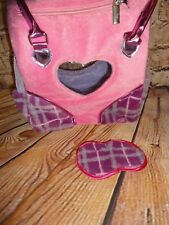 PUCCI PUPS & FRIENDS CARRY BAG PINK PLAID PRINT PURSE & Eye Mask Heart Window