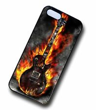 Cool Rock Metal Blues Flaming Electric Guitar Clip On Case Cover for iPhone 5 5s