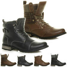 MENS LACE UP PADDED FUR TRIM COLLAR CUFF BIKER COMBAT MILITARY ANKLE BOOTS SIZE