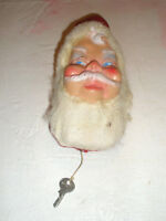 Vintage Musical Santa Head Pull String Plays Jingle Bells