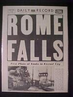 VINTAGE NEWSPAPER HEADLINE ~WORLD WAR 2 HITLER NAZI ARMY ROME FALLS WWII 1944
