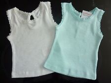 2 Little Girls Ribbed Vest Tops in Aqua and White NWT