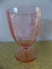 Vintage Pink Etched Depression Glass Goblet Vase