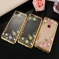 Luxury TPU Silicone Clear Crystal Diamond Soft Phone Case Cover For iPhoneX 8 AA