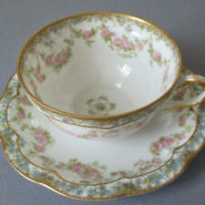 Antique HAVILAND Porcelain Cup + Saucer PINK ROSE Swags Blue FMNs Schleiger 271A