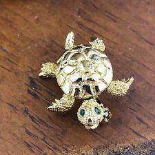 "Vtg Monet Gold Tone Trembler Nodder Turtle Brooch 2"" Pin Green Eyes Textured"