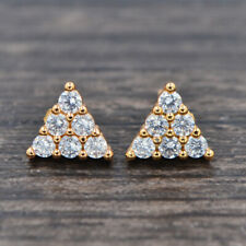 Gold Plated Women Clear White Zirconia CZ Fashion Triangle Stud Earrings Jewelry