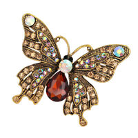 Creative Women Mens Alloy Rhinestone Butterfly Brooch Pin Party Jewelry
