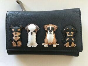 Mala Best Friend sitting dog grey leather purse RFID picture dogs purse