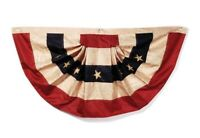 Tea Stained American Pleated Nylon Flag Bunting 25x48 Inch Banner Patriotic New