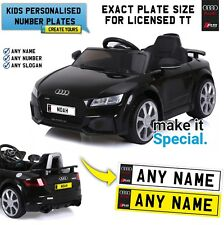 Ride On AUDI TT RS Personalised Number Plate For Kids Electric Car Exact Size