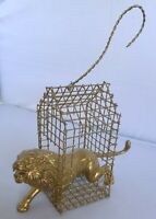 """Lion in Cage Ornament Gold Tone Metal Christmas Estate Find 5"""" Long"""
