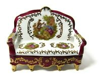 RARE Limoges France Meissner Loveseat Trinket Box Sofa Couch Bench Red Gold 5x4