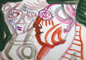ABSTRACT MODERNIST ART WATERCOLOR PAINTING PORTRAIT WOMAN MALE SIGNED