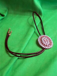 Zuni Sterling & Turquoise Bolo Tie - Classic Needlepoint Design - Beautiful!