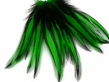 "100 FLORESCENT GREEN SADDLE ROOSTER CRAFT HAIR EXTENSION FEATHER 5/""-6/""L"