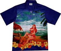 "Men's Hawaiian Shirt ""Beach Girl"" / size M - 6XL / 100% cotton / Hawaii Hawaian"
