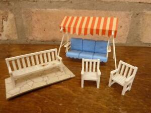Nice vintage Britains Floral Gardens Swing chair and Bench set