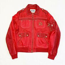 CESARE PACIOTTI 4US Vtg Red Leather & Nylon Unisex Jacket Size Mens S Ladies 14