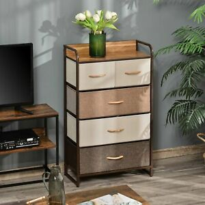 5-Drawer Dresser Tower Fabric Chest of Drawers with Steel Frame Wooden Top