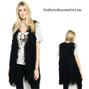 BOHO Black Faux Lamb Fur Shearling Sherpa Shaggy Fringed Vest Jacket Coat S M L