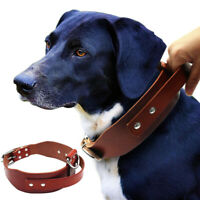 Genuine Leather Dog Collar With Control Handle Heavy Duty Adjustable Rottweiler