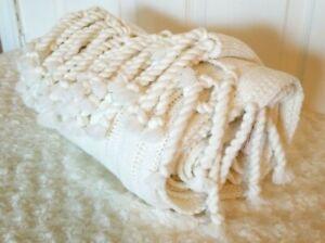 """Ashley Furniture 50"""" x 60"""" Ivory Knit Throw Blanket Twisted Weave Fringe Ribbed"""