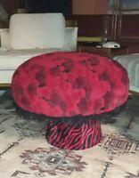 Vintage 1960's Red Black Mushroom Shag Puffy Carpet Mid Century Modern Furniture