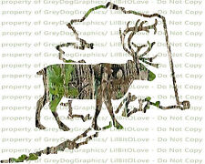 Camouflage Camo Alaska Caribou Deer Hunting Vinyl Decal Hunt Sticker
