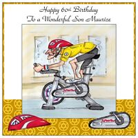 Mens Handmade Personalised Birthday Card  ANY AGE Excercise Bike Funny Race Fit