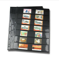10 Sheets Stamp Stock Pages (7 Rows) Black & Double sided With 9 Binder Holes