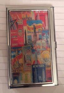 NEW YORK CITY Postcard Empire State Bldg Business Card Holder Credit Card Case