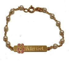 Teddy Bear Girl Tag ID Bracelet 18K Gold Plated Bracelet 6 ¨ - Baby ID Bracelet