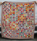 Antique+Signed+%26+Dated+Feb+4+1914+Summer+Quilt+On+Point+Square+in+Square+yqz