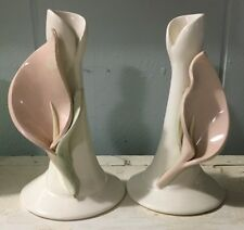 Vintage Candle Holder pair Calla Lily 3 D ceramic pottery handcrafted signed