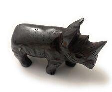 More details for dark grey hematite rhinoceros hand carved gemstone ornament