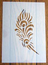 Pluma De Pavo Real A5 Plantilla Hoja de Máscara de Mylar reutilizable para artes y artesanías, hazlo tú mismo