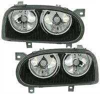 BLACK HEADLIGHTS HEADLAMPS FOR VW GOLF MK3 MK 3 MK III