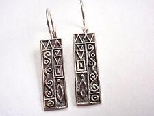 Hieroglyphics Wire Back Earrings 925 Sterling Silver Corona Sun Jewelry